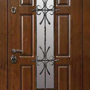 Дверь со стеклом и ковкой DR242
