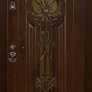 Дверь со стеклом и ковкой DR234